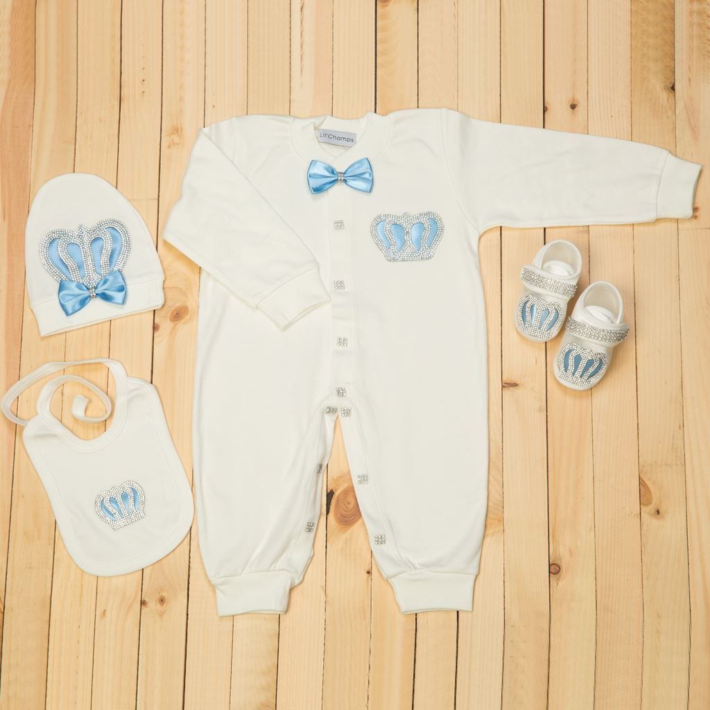 9-12 Months - 4 Pieces Royal Blue and White set for Baby Boys-Lilchamps