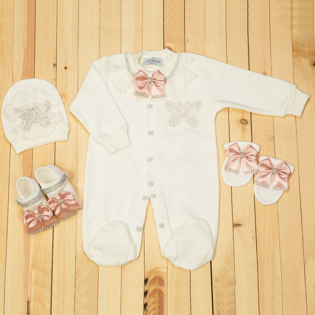 0-6 Months - 4 pieces White & Tea Pink Set for girls- lil'champs
