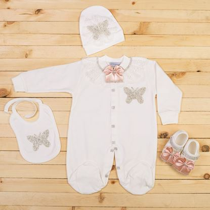 6-12 Months - 4 pieces White & Tea Pink Set for girls- lil'champs