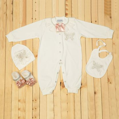 9-12 Months - 4 pieces White & Tea Pink Set for girls- lil'champs