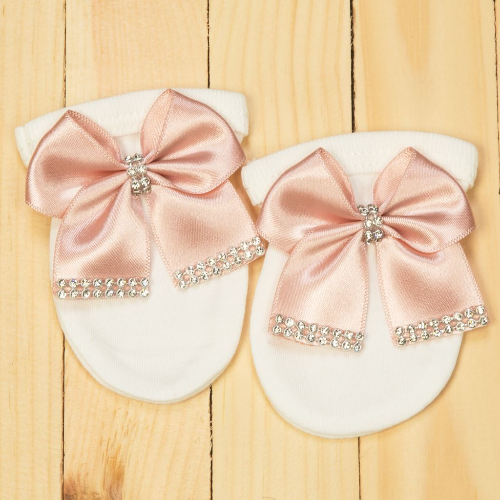 Mittens - 4 pieces White & Tea Pink Set for girls- lil'champs