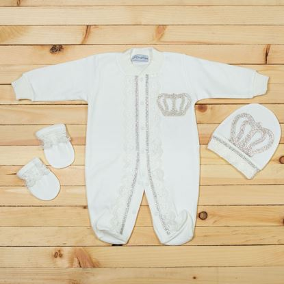3pcs White Luxury Set For New Born Baby Boys-Lilchamps