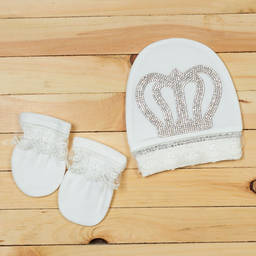 Mittens + Cap - 3pcs White Luxury Set For New Born Baby Boys-Lilchamps