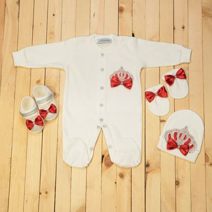 0-6 Months - 4 pieces Red and White Romper Set For Girls- Lilchamps