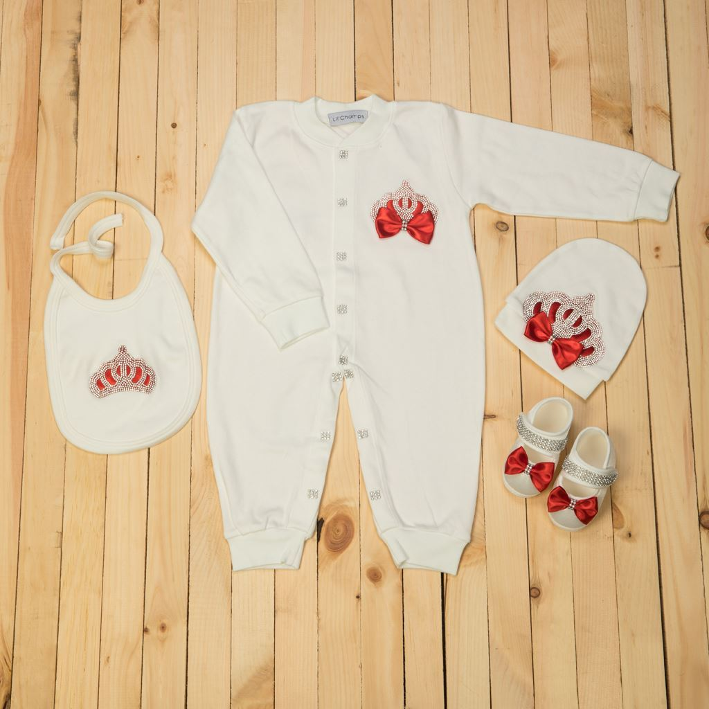 9-12 Months - 4 pieces Red and White Romper Set For Girls- Lilchamps