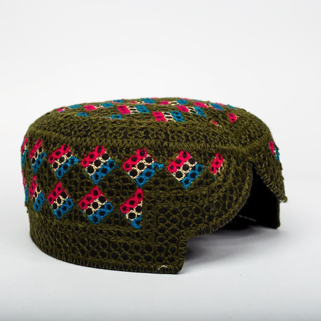 Dark Green Multi - Hand Made Sindhi Caps-Lilchamps