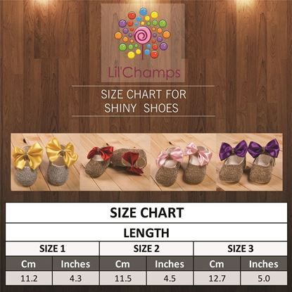 Size Chart-Infant Golden fancy Shoes for Baby Girls- Tea Pink -lilchamps