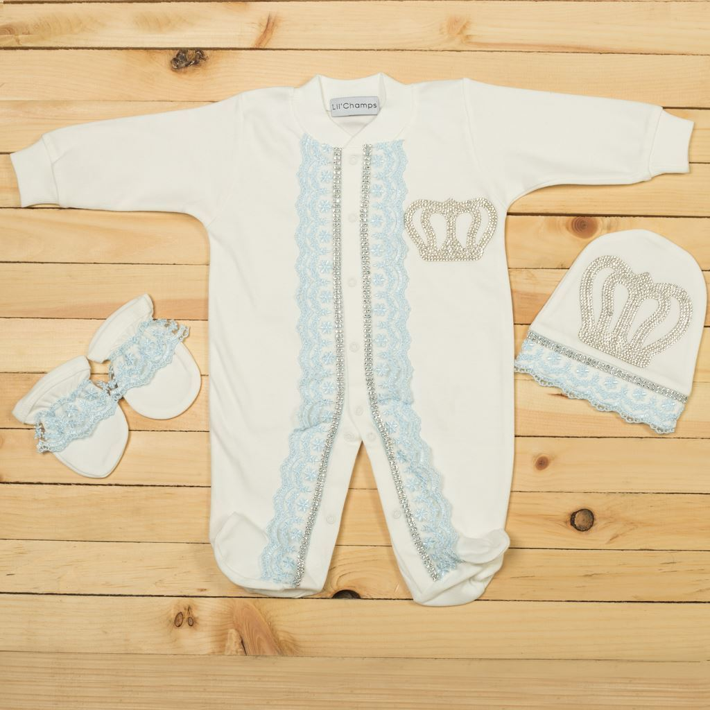 3pcs Blue Luxury Set For New Born Baby Boys-Lilchamps