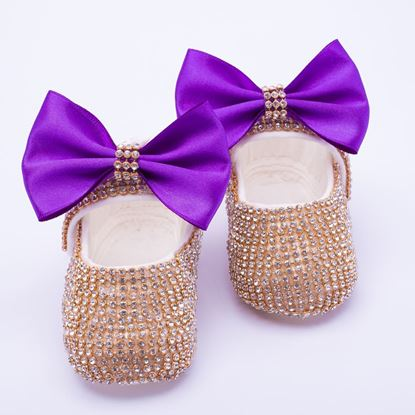 Infant Golden fancy Shoes With Purple Bow  for Baby Girls-lilchamps