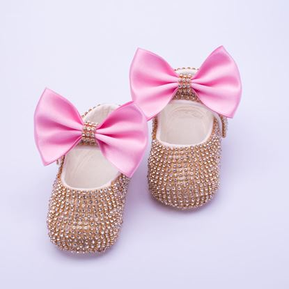 Infant Golden fancy Shoes With Pink Bow  for Baby Girls-lilchamps