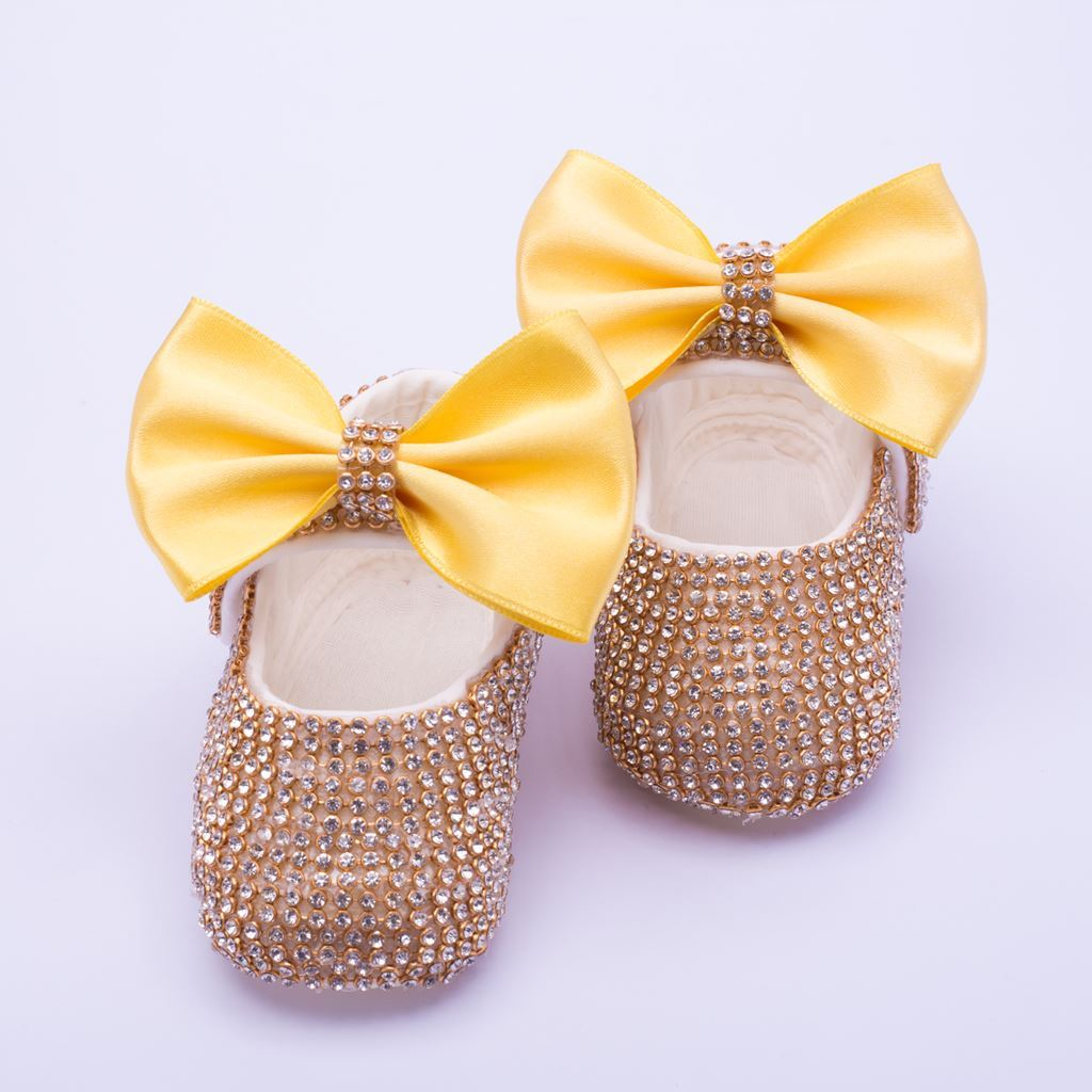 Infant Golden fancy Shoes With Yellow Bow  for Baby Girls-lilchamps