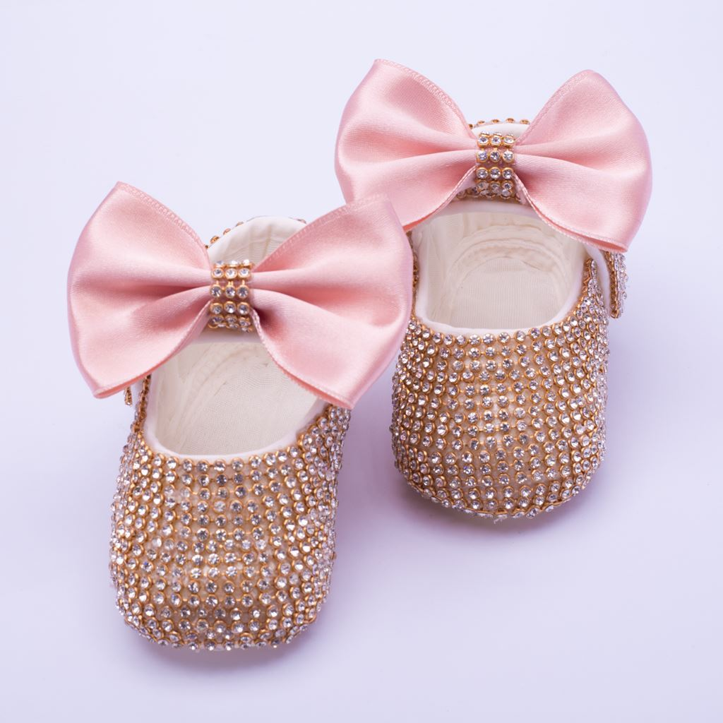 Infant Golden fancy Shoes With Tea Pink Bow  for Baby Girls-lilchamps
