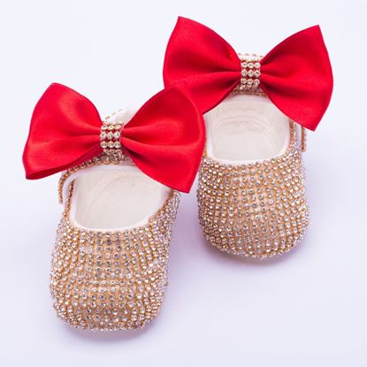 Infant Golden fancy Shoes With Red Bow  for Baby Girls-lilchamps
