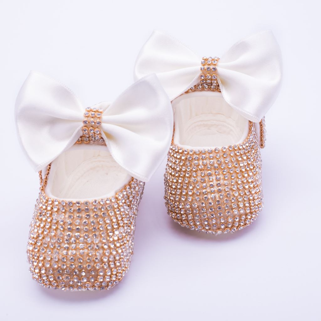 Infant Golden fancy Shoes With White Bow  for Baby Girls-lilchamps