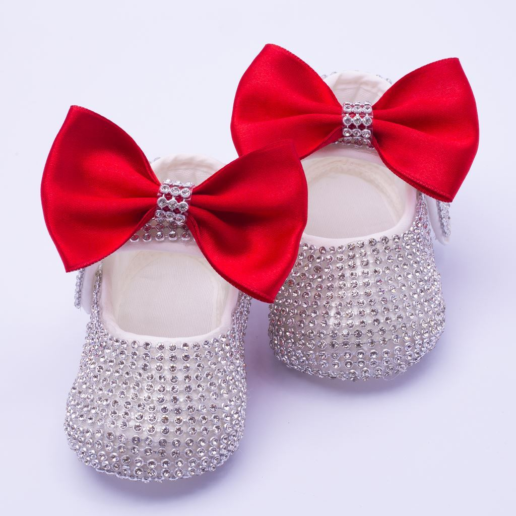 Infant Silver Fancy Shoes With Red Bow for Baby Girls-lilchamps