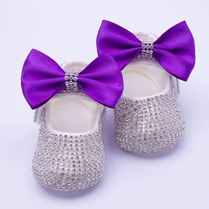 Infant Silver Fancy Shoes With Purple Bow for Baby Girls-lilchamps