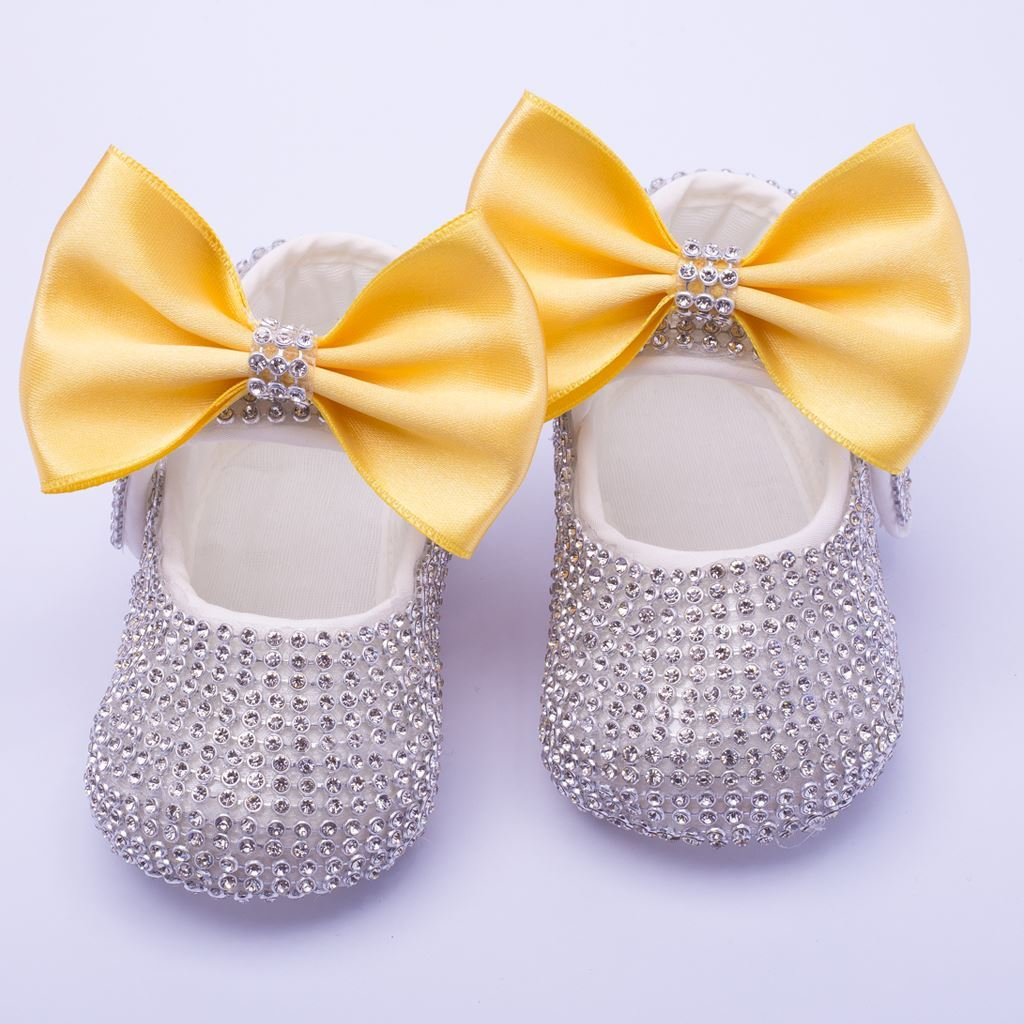 Infant Silver Fancy Shoes With Yellow Bow for Baby Girls-lilchamps