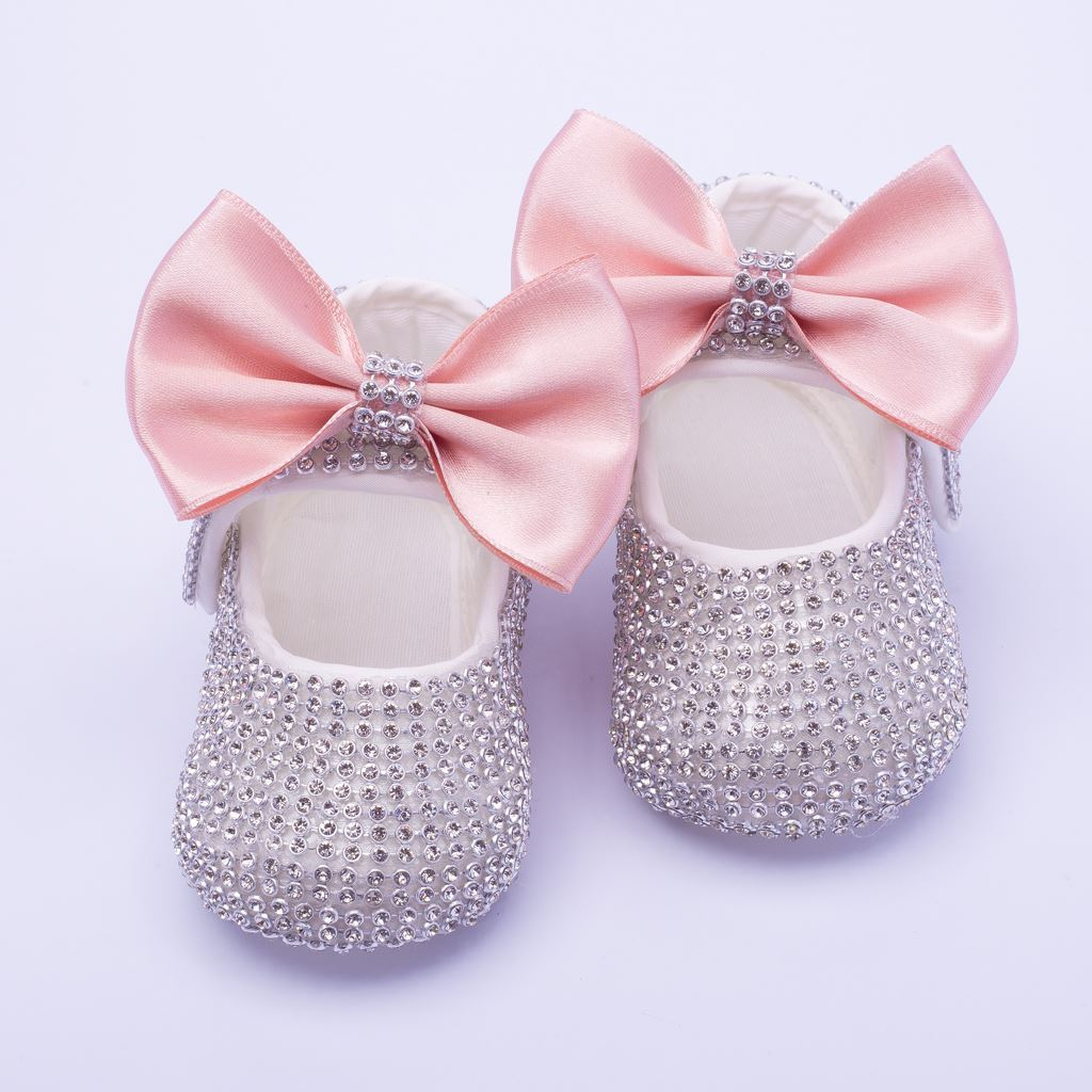 Infant Silver Fancy Shoes With Tea Pink Bow for Baby Girls-lilchamps