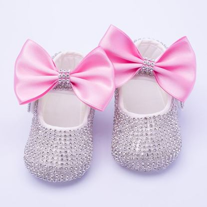 Infant Silver Fancy Shoes With Pink Bow for Baby Girls-lilchamps