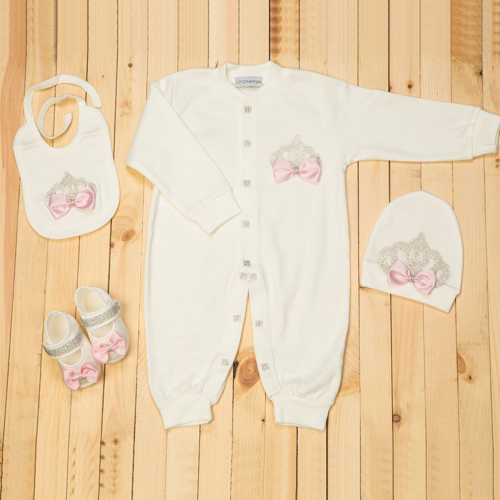 9-12Months - 4 pieces Pink and White Romper Set For Girls- Lilchamps