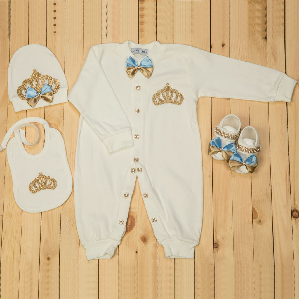 4 Pieces Golden and Blue Romper Set for Baby Girls-lilchamps