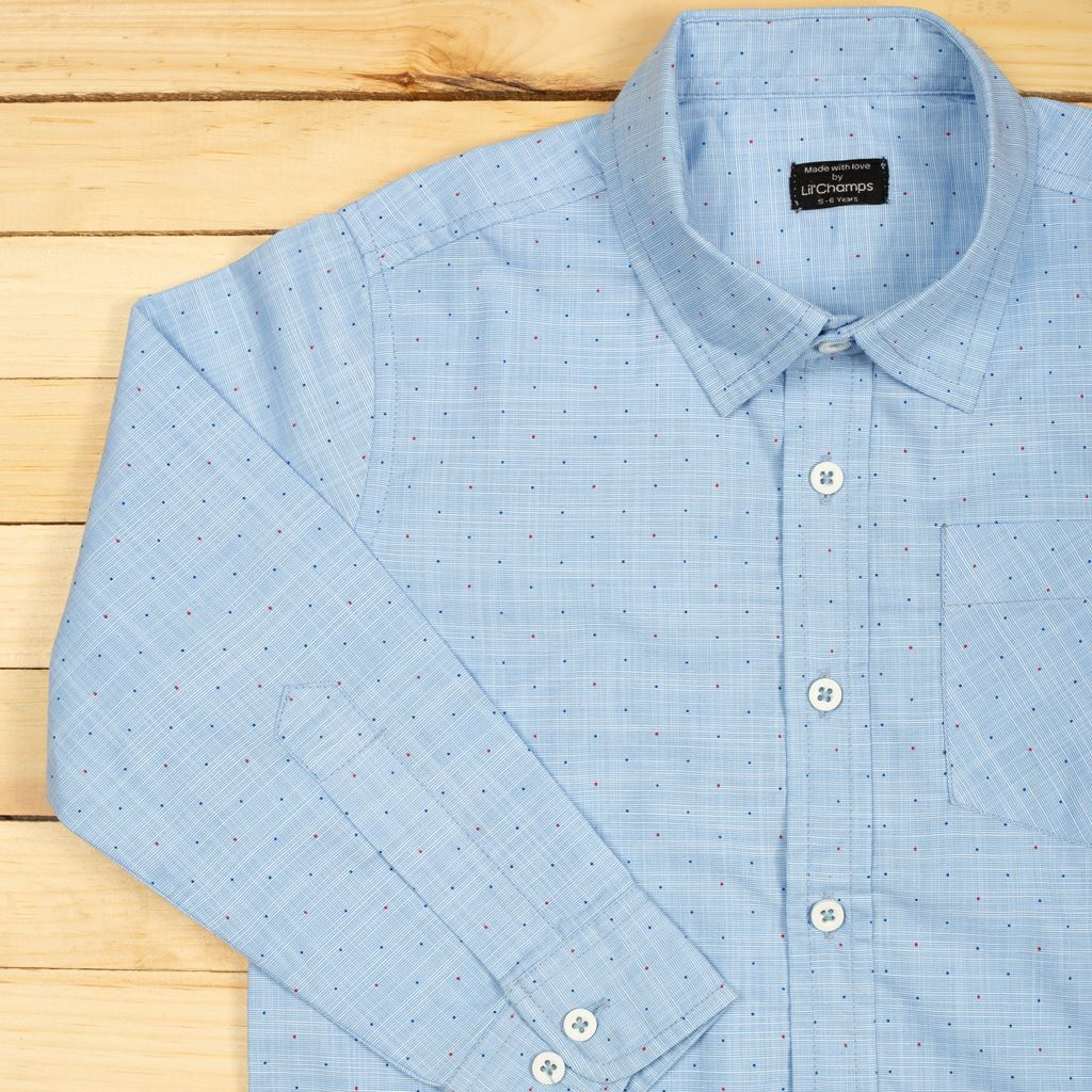 Blue textured shirt with multi color Dots-lilchamps