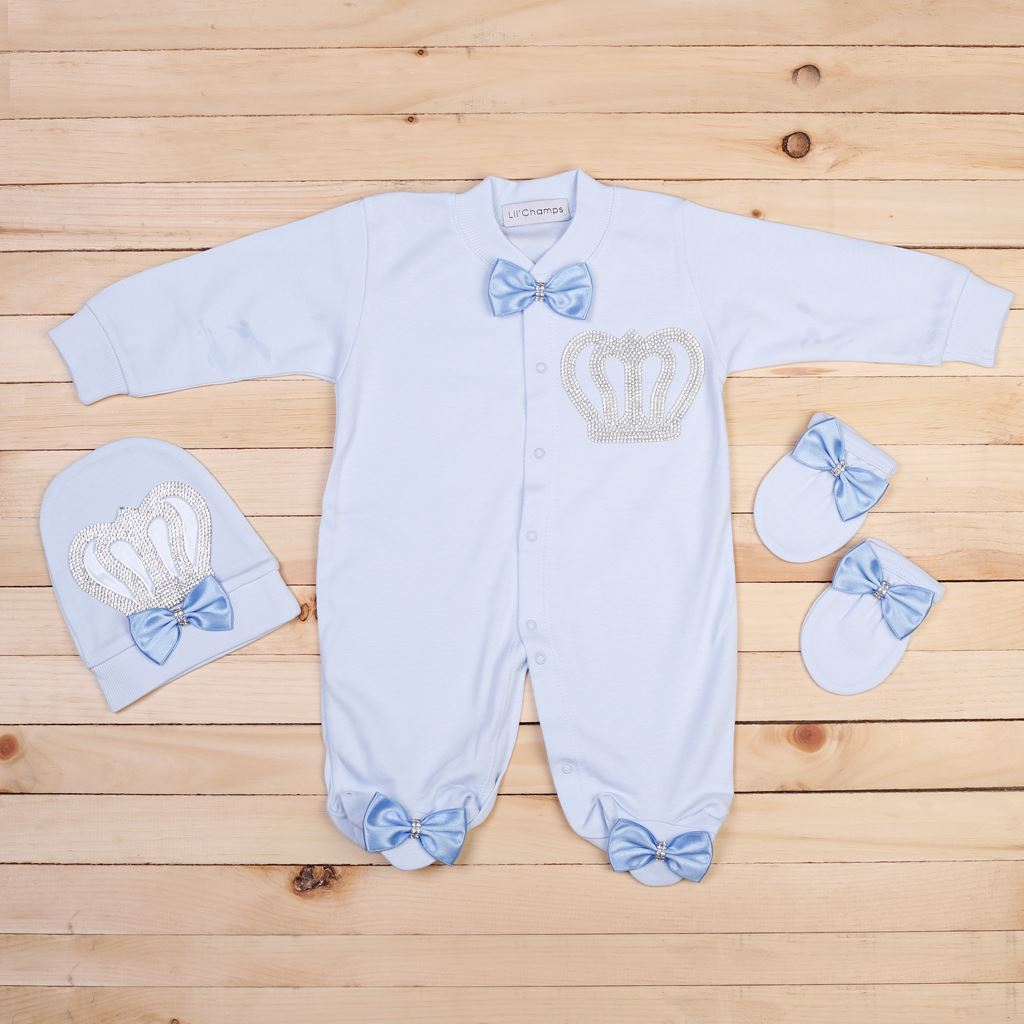 7ce3498b7614 Lil Champs. 3 pieces Blue Romper set for Baby Boys