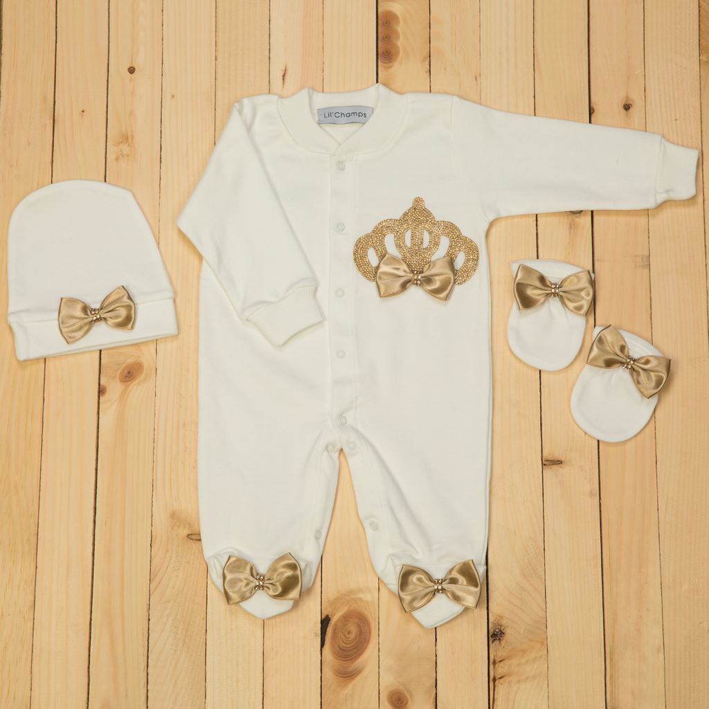 3pcs Golden Romper Set for Baby Girls -lilchamps