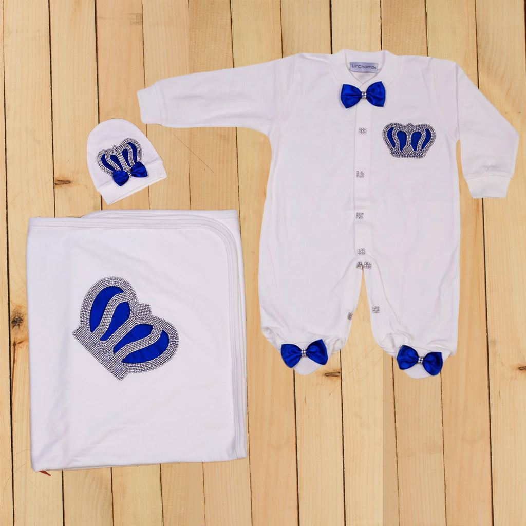 Royal Blue - 3 Pieces Romper & Wrapping Sheet Set for Baby Boys-lilchamps