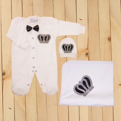 Black- 3 Pieces Romper & Wrapping Sheet Set for Baby Boys-lilchamps
