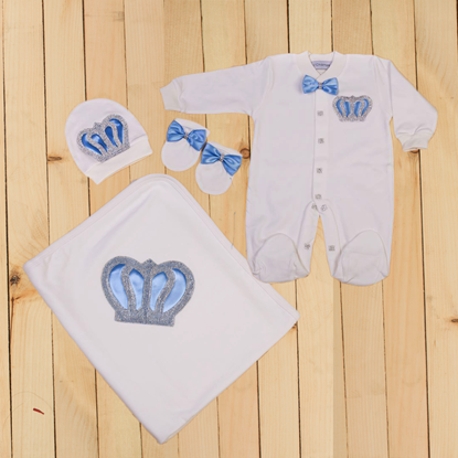 4 Pieces Romper & Wrapping Sheet set for Baby Boys-Lilchamps