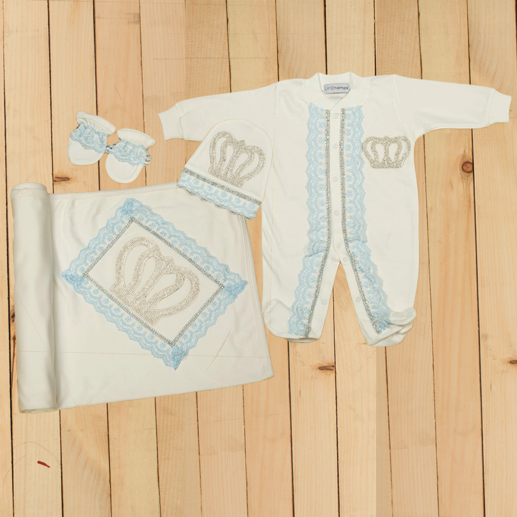 4 pieces Luxury Romper & wrapping Sheet Set For New Born Baby Boys-Lilchamps