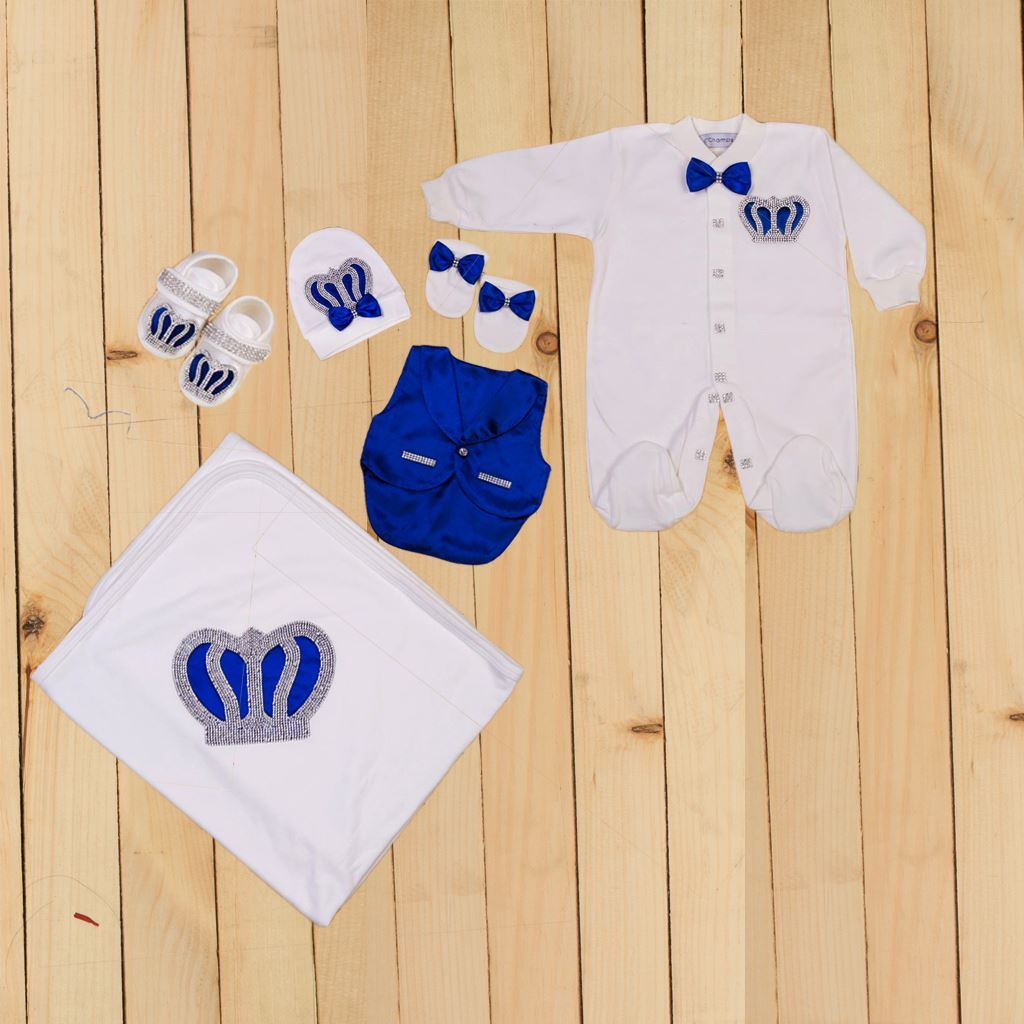6 Pieces Romper & Wrapping Sheet set for Baby Boys - lilchamps