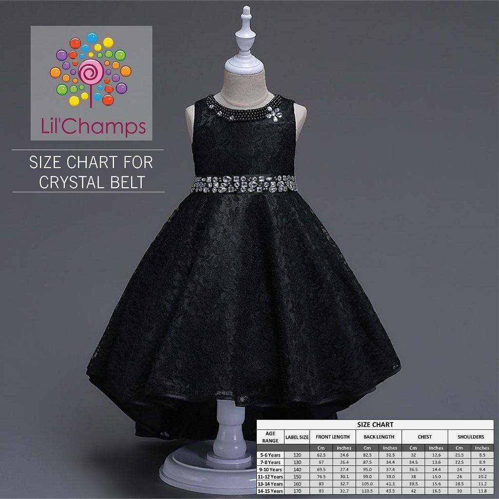 Size Chart-  Elegant Tail Style Frock best for weddings and parties for Young Girls -Lilchamps