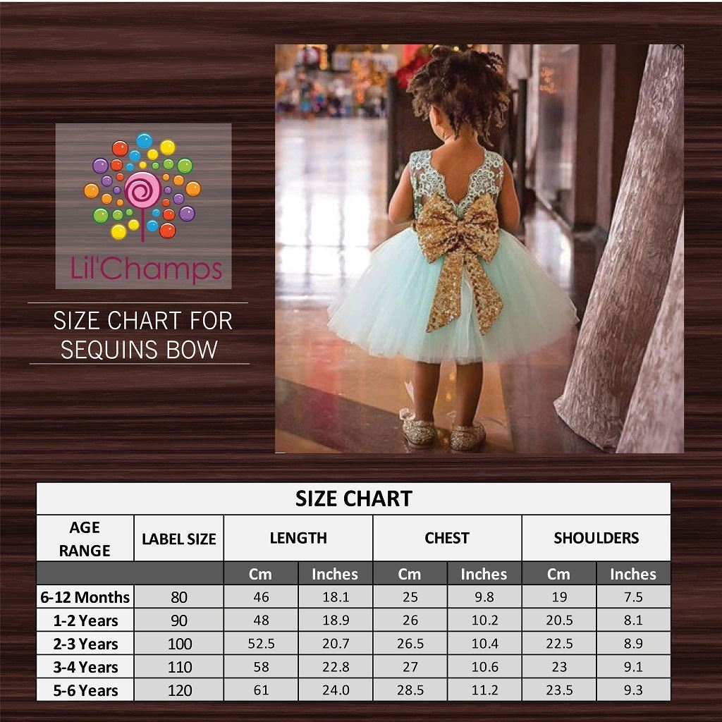 Size Chart-Sequences Bow frock -Lilchamps