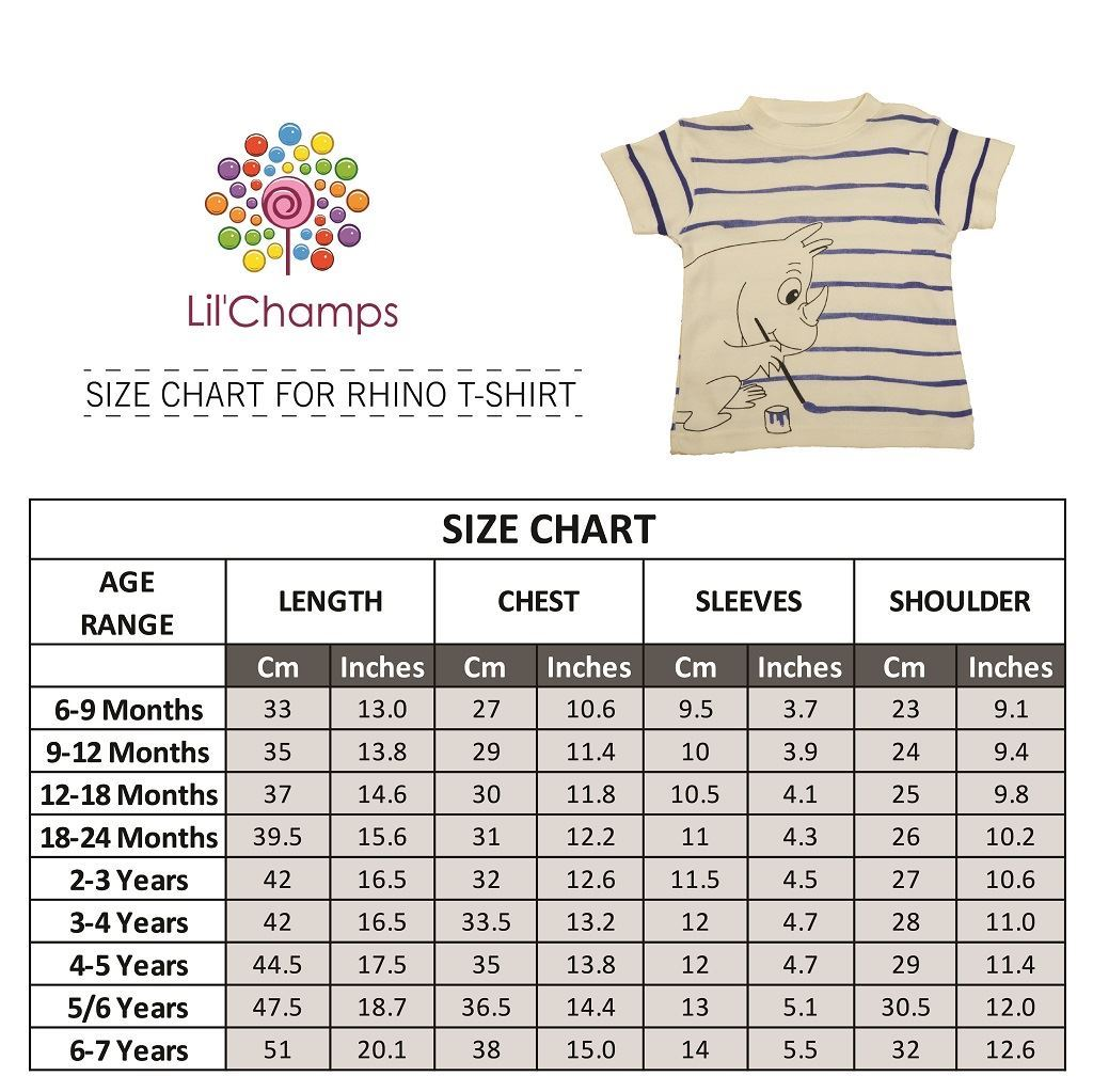 Size Chart-Rhino Style Graphic Half-Sleeve T-Shirt-lilchamps