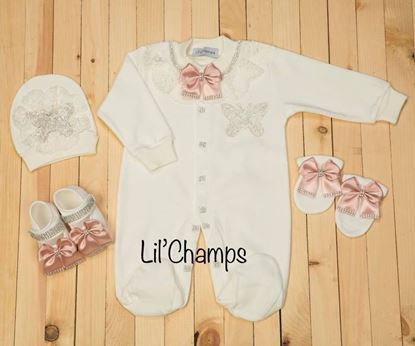 5 Pieces Tea Pink Butterfly Style Luxury Romper & Wrapping Sheet Set For Baby Girls-Lilchamps