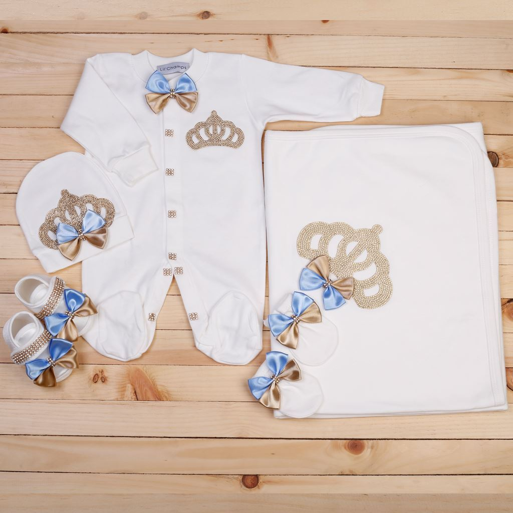 5 Pieces Romper & Wrapping Sheet set for Baby Girls -Lilchamps
