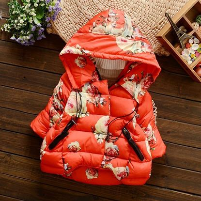 Cute Kids Rose Printed Hooded Jacket   -Lilchamps