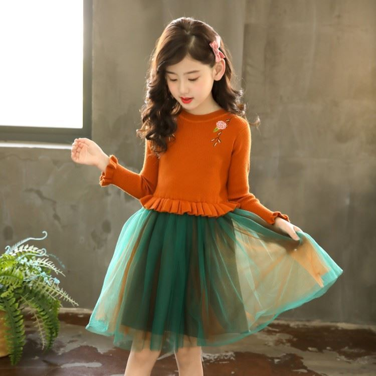 Mustard-Knitted Frock for Girls -lilchamps