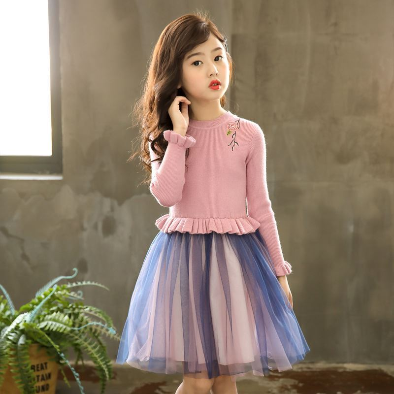 Pink-Knitted Frock for Girls -lilchamps