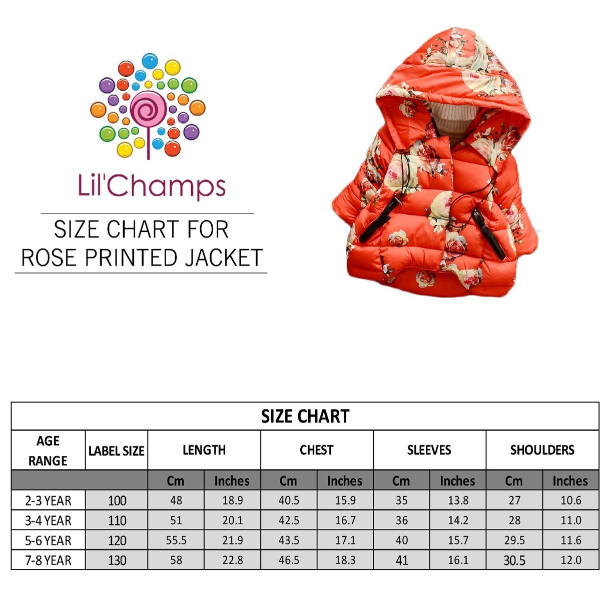 Size Chart-Cute Kids Rose Printed Hooded Jacket -Lilchamps