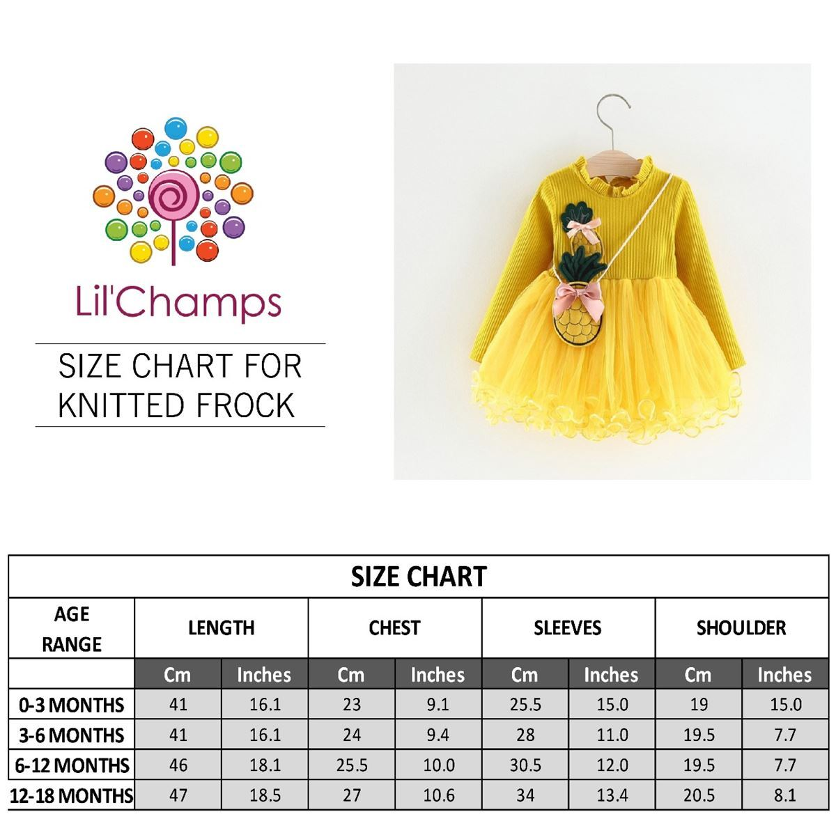 Size Chart - Frock with Pineapple Bag-Lilchamps