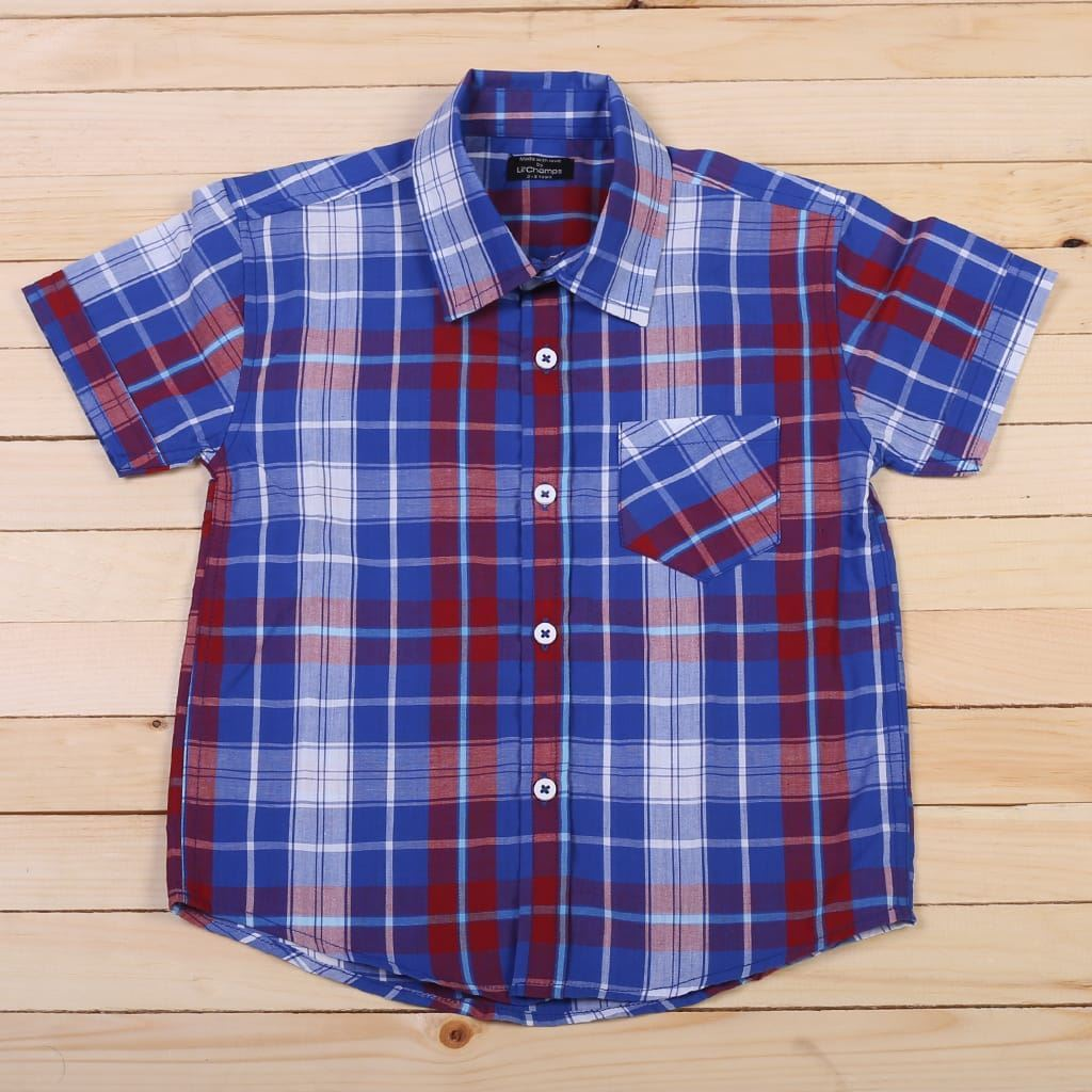 Red and Blue Checks Shirt for Boys -lilchamps