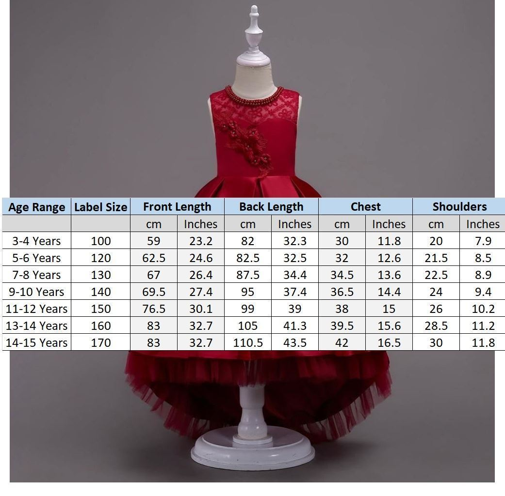 Red Frock Size Chart Girls