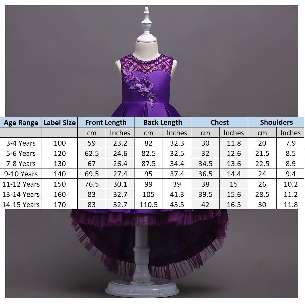 Size Chart Purple Frock for Girls