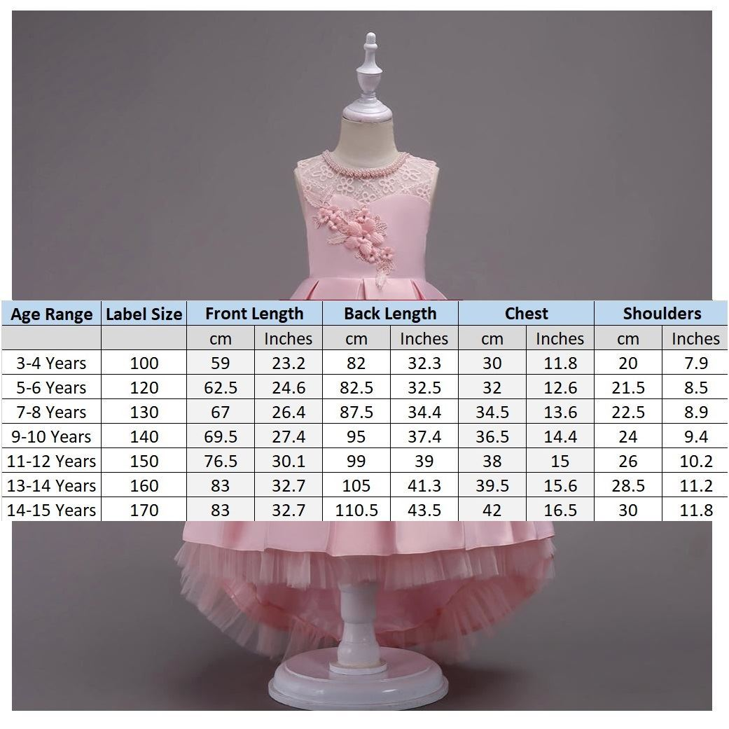 Size Chart Pink Frock for Girls