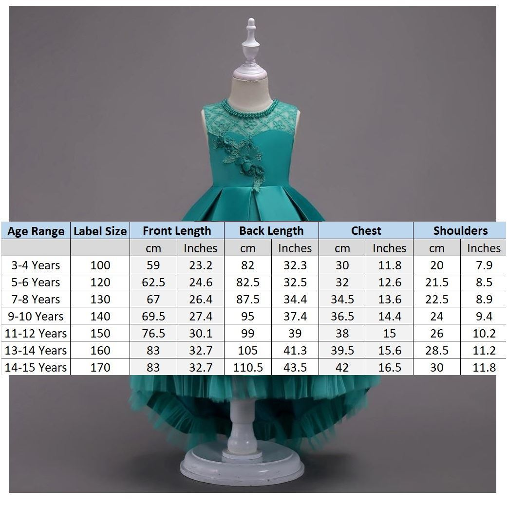 Size Chart Green Frock for Girls