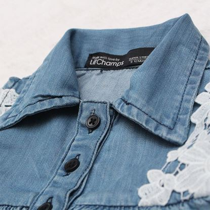 Light Blue Denim Frock for Girls-Lilchamps