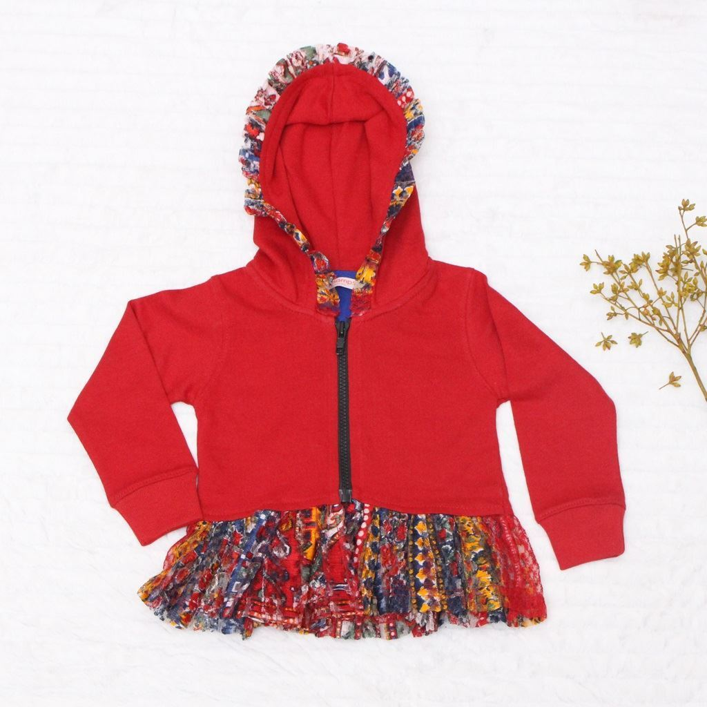 Red Hoodie for Girls-Front-Lilchamps